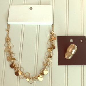 H&M gold colored circle cut out necklace and ring